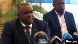 Jean Pierre Bemba arongoye umugambwe MLC, utavuga rumwe n'ubutegetsi muri RDC atanga ikiganiro ku bamenyeshamakuru i Kinshasa, RDC, itariki 3/08/2018.