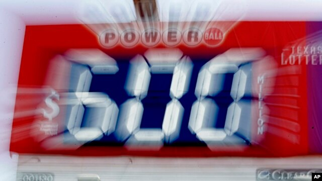 A billboard announcing the $600 million dollar prize in the Power Ball lottery,  May 18, 2013.