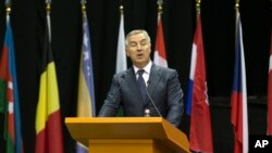 FILE - Montenegro's Prime Minister Milo Djukanovic speaks at the NATO Parliamentary Assembly Spring session in Tirana, May 30, 2016, expressing gratitude for his country's invitation to become an alliance member.