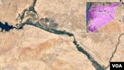 Letak desa al-Matab, sebelah tenggara kota Raqqa, Suriah.