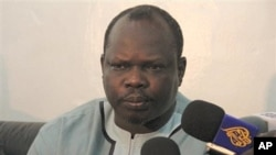Leading southern politician Pagan Amum, briefs reporters in the southern Sudanese capital Juba (File Photo).