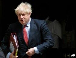 PM Inggris, Boris Johnson di Gedung Parlemen Inggris, di London, 15 Juli 2020.