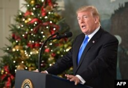 U.S. President Donald Trump delivers a statement on Jerusalem from the Diplomatic Reception Room of the White House in Washington, Dec. 6, 2017.