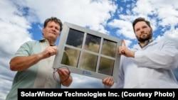John Conklin (left) and Scott Hammond of SolarWindow Technologies Inc. with their transparent solar cell