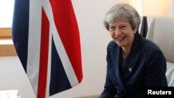 La primera ministra británica, Theresa May, participó en una reunión con el primer minsitro irlandés, Leo Varadkar, durante la cumbre de la Unión Europea en Bruselas el 28 de junio de 2018.