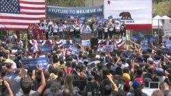Clinton နဲ႔ Sanders အၿပိဳင္အဆိုင္ မဲဆြယ္