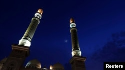 FILE - The al-Saleh mosque during Muslim fasting month of Ramadan, Sanaa, July 2, 2014.