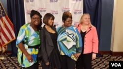 From left, social media personality Lynette Hardaway, actress Stacey Dash, social media personality Rochelle Richardson, and Republican political activist Ann Stone at the unveiling of the Women Vote Trump Super PAC in Washington, D.C., June 9, 2016. (W. Gallo/VOA)