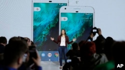 Sabrina Ellis, Google director of product management, talks about the new Google Pixel phone during a product event in San Francisco, California, Oct. 4, 2016.