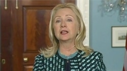 Video of US Secretary of State Hillary Clinton reacting to situation in Syria