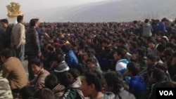 The protest Friday in the town of Rongwo in Rebkong, eastern Tibet