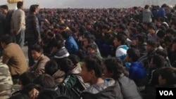 지난 9일 티베트 렙콩 마을에서 일어난 반중국 시위. (자료사진)