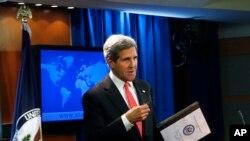 2013年9月19日美国国务卿克里在国务院对记者发表有关叙利亚化学武器袭击的报告。