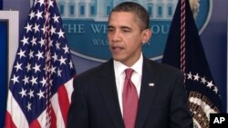President Barack Obama makes a statement to reporters in the James Brady Press Briefing Room at the White House in Washington, Monday, Dec. 5, 2011.