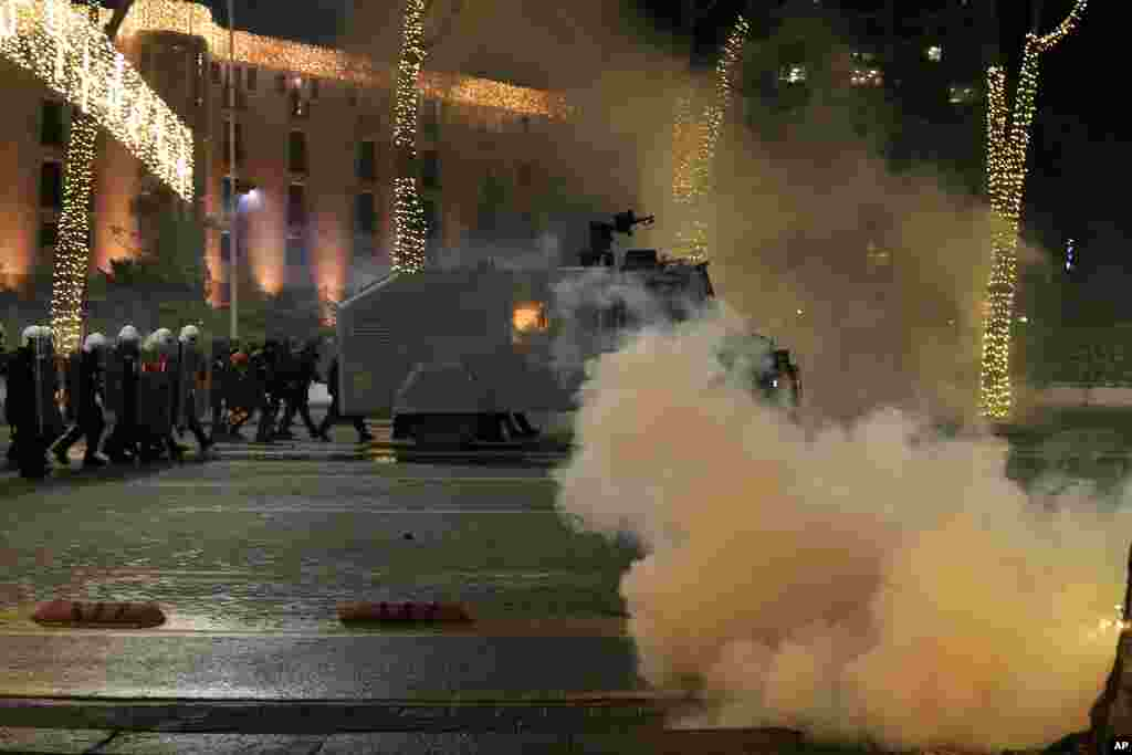 Albanian police and demonstrators clash for the third day, protesting the death of a 25-year-old man shot by a police officer, in Tirana.