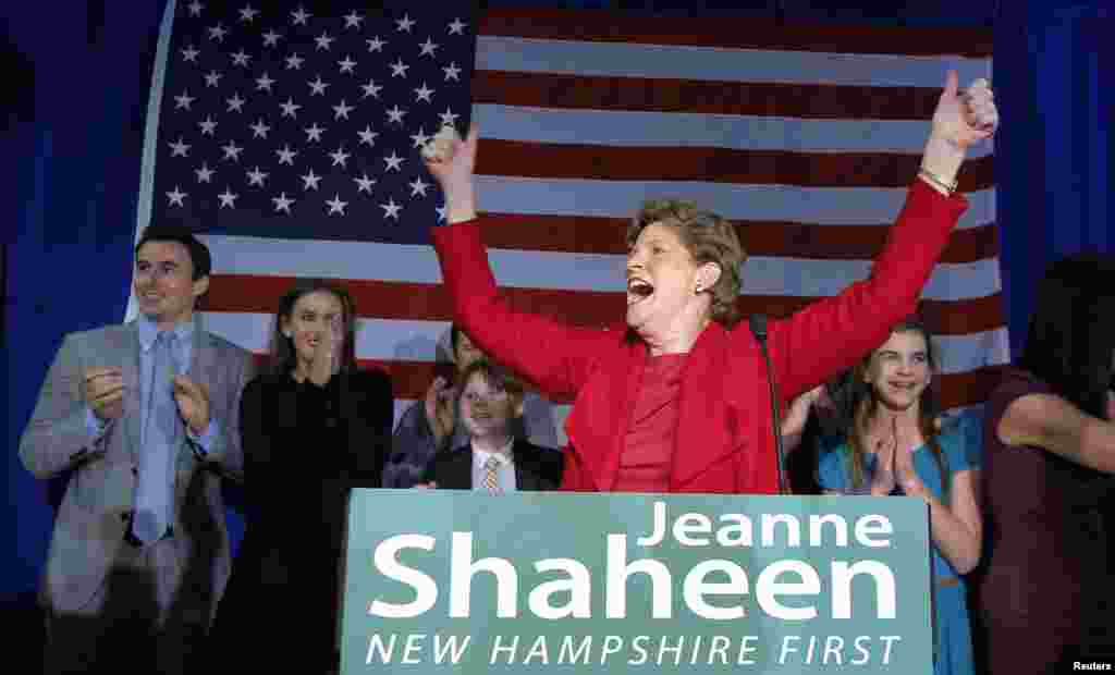 Democratic U.S. Senator Jeanne Shaheen of New Hampshire celebrates her re-election victory over challenger Scott Brown at her midterm election night rally in Manchester, Nov. 4, 2014.