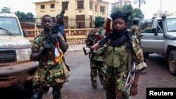 塞雷卡戰鬥人員2013年3月25日總統府前護衛