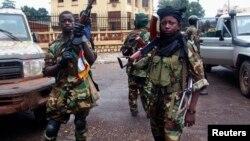 Combatentes da Seleka na chegada a Bangui, Mar 2013