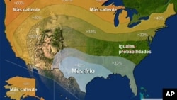 Pronóstico de temperaturas para el invierno 2015, según datos de la Administración Nacional Oceánica y Atmosférica de Estados Unidos.