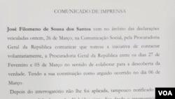 Comunicado de José Filomeno dos Santos sobre medidas de coação