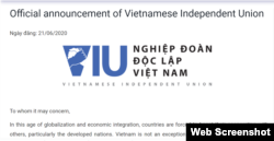 Thông báo thành lập của Nghiệp đoàn Độc lập Việt Nam hôm 21/06/2020. Photo VietnamIndependentUnion.org