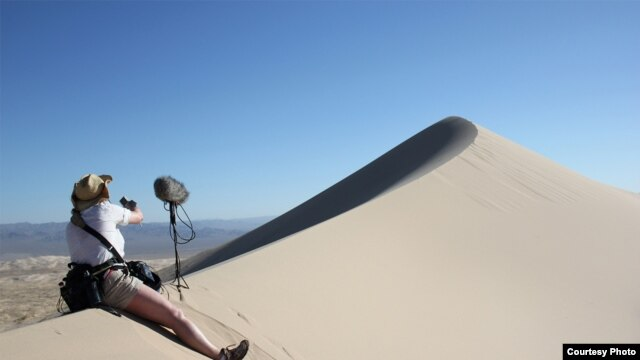 A sound engineer sets up to record singing sand dunes in the Mohave Desert, California. (Trevor Cox)