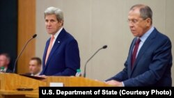 FILE - U.S. Secretary of State John Kerry (L), speaks as he and Russian Foreign Minister Sergei Lavrov address reporters during a joint news conference following talks on Syria in Geneva, Aug. 26, 2016.