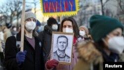 Hình ảnh một cuộc xuống đường ủng hộ ông Navalny.