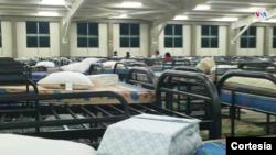 Imagen del albergue que el gobierno salvadoreño adecuó parar recibir a los pasajeros que serán sometidos a cuarentena.