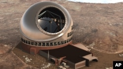 FILE - This 2011 artist rendering, provided by Thirty Meter Telescope, shows the Thirty Meter Telescope.