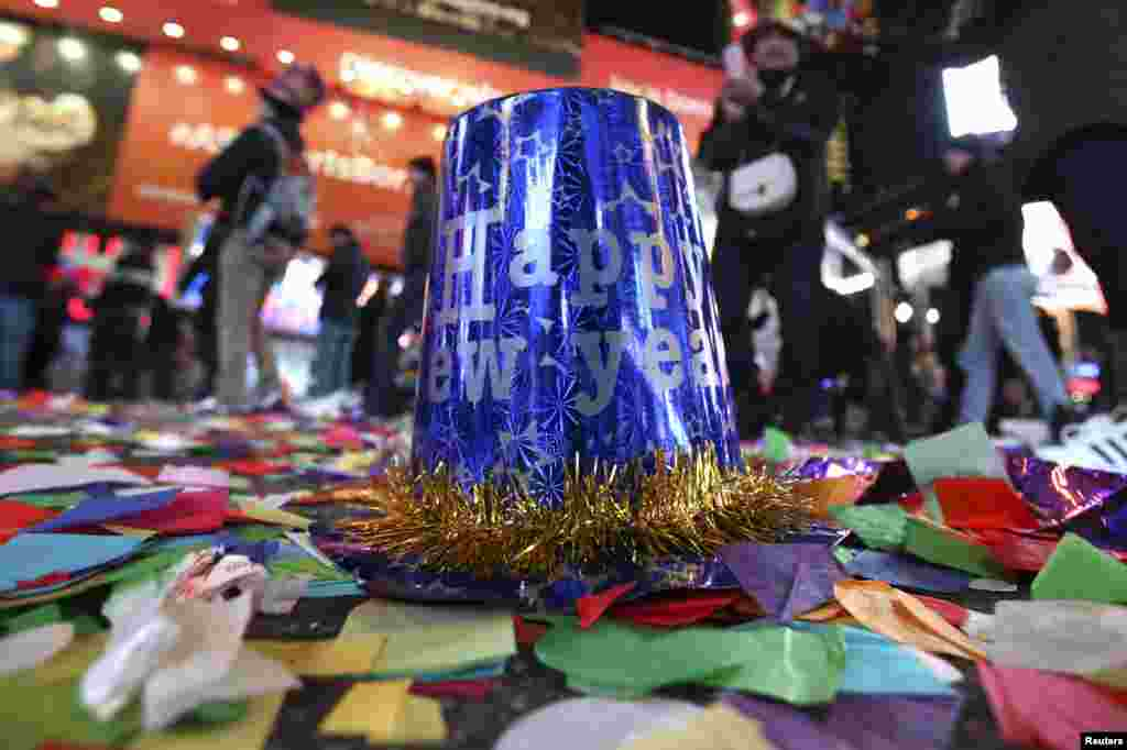 A party hat lies on the ground after New Year's celebrations in Times Square in the Manhattan borough of New York.