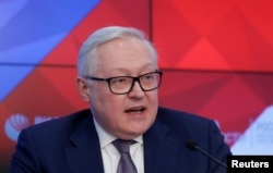 FILE - Russian Deputy Foreign Minister Sergei Ryabkov speaks during a news conference in Moscow, Russia, Feb. 7, 2019.