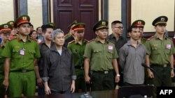 Nhà hoạt động Lưu Văn Vịnh tại phiên tòa ngày 5/10/2018.