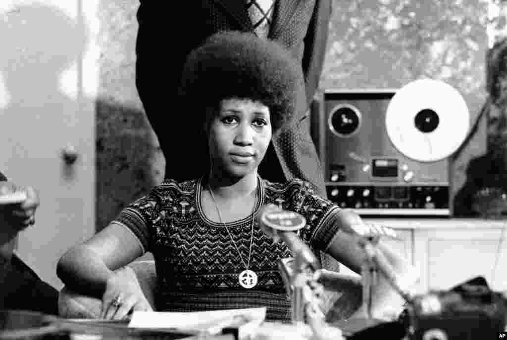 Soul singer Aretha Franklin is shown at a news conference, March 26, 1973.