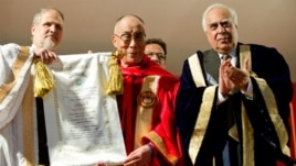 The Dalai Lama receiving an honorary Doctor of Letters from Jamia Millia Islamia University in New Delhi, India, on November 23rd, 2010.