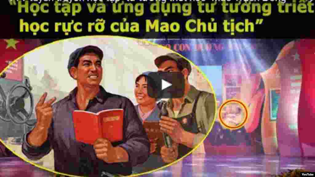 """Tranh cổ động Trung Quốc xuất hiện trên truyền hình Việt Nam Kênh truyền hình quốc gia Việt Nam (VTV) lại vấp phải chỉ trích của dư luận sau khi bị phát hiện sử dụng hình ảnh minh họa kêu gọi """"học tập tư tưởng của Mao Trạch Đông làm hình nền minh hoạ cho chương trình truyền hình trực tiếp trao giải cuộc thi viết """"Những tấm gương bình dị mà cao quý""""."""