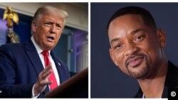 Colagem de das fotos do Presidente Trump e do ator Will Smith para o segmento Trending da VOA Portugues