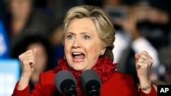 힐러리 클린턴 미국 민주당 대선후보가 31일 신시네티에서 열린 선거유세에서 연설하고 있다.