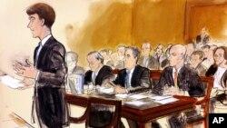 Dans ce dessin, l'avocat personnel du président Donald Trump, Michael Cohen, assis à sa droite, est entouré de ses propres avocats Todd Harrison, à droite, et Stephen Ryan, tribunal de New York, le 16 avril 2018.