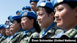 Chinese U.N. peacekeepers take part in training in Beijing. A 700-strong battalion of Chinese peacekeepers is poised to deploy in Juba, South Sudan, the U.N. said on Jan. 15, 2015.