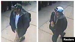 Kedua tersangka pemboman di Boston tertangkap kamera video. (Foto: FBI)