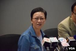 新任「泛民會議」召集人何秀蘭表示,泛民要高度團結面對接下來的三個選舉。(美國之音湯惠芸攝)