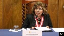 Zoraida Ávalos, nueva fiscal general de Perú en conferencia de prensa tras ser nombrada al cargo, el martes 8 de enero de 2018.