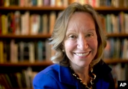 FILE - In this Oct. 7, 2013, file photo, author Doris Kearns Goodwin poses for a portrait at her home in Concord, Mass.