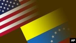 미국 성조기와 베네수엘라 국기. (그래픽)