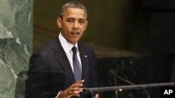 Barak Obama BMT Bosh Assambleyasining 66-sessiyasida ma'ruza qilmoqda, 25-sentabr, 2012-yil.