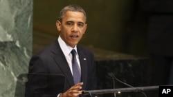 Shugaba Obama yana jawabi a zauren taron Majalisar Dinkin Duniya