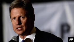 FILE - Libertarian Party presidential candidate Gary Johnson.