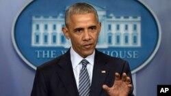 지난 14일 바락 오바마 대통령이 백악관에서 기자회견을 하고 있다.