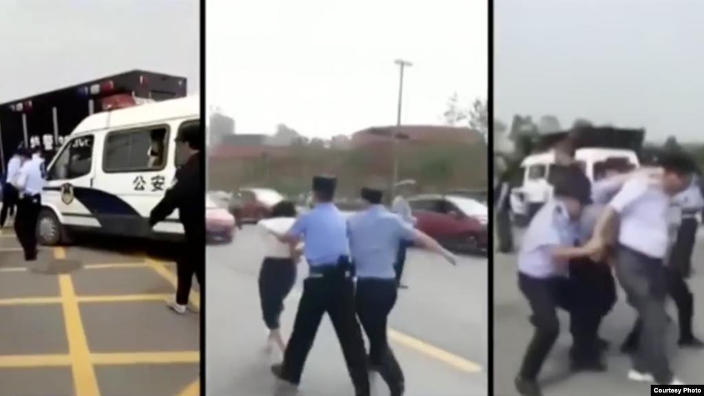 安徽六安教師集體維權遭警察粗暴對待(網絡截圖)